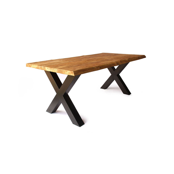 Live Edge Dining Table - X-Shaped Legs