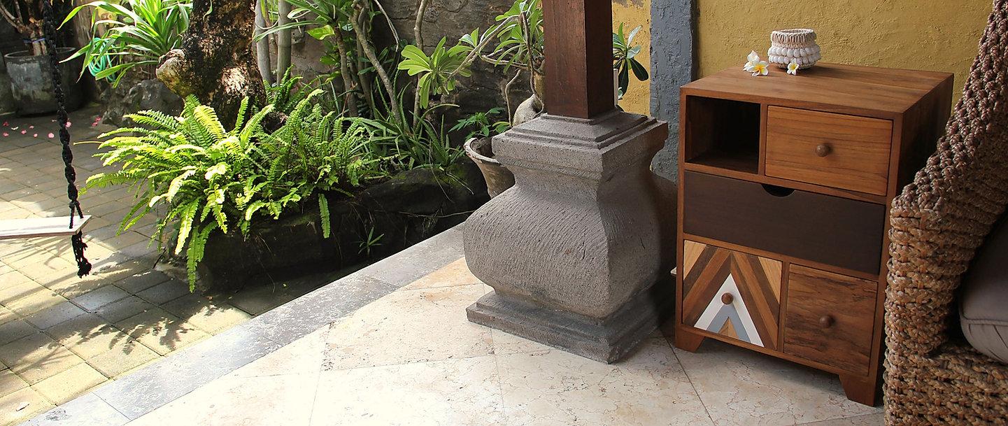 Bedside table furniture design in Bali home