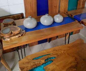 Teak and epoxy resin dining table