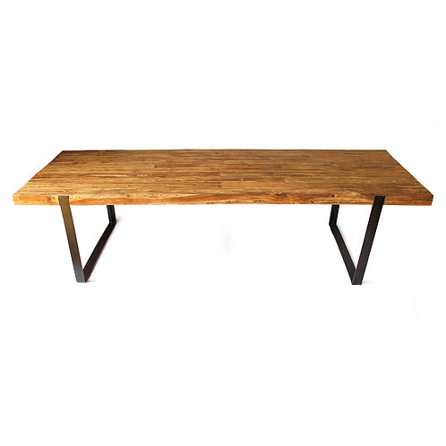 Live Edge Dining Table - Thin U-Shaped Legs / Recycled Teak