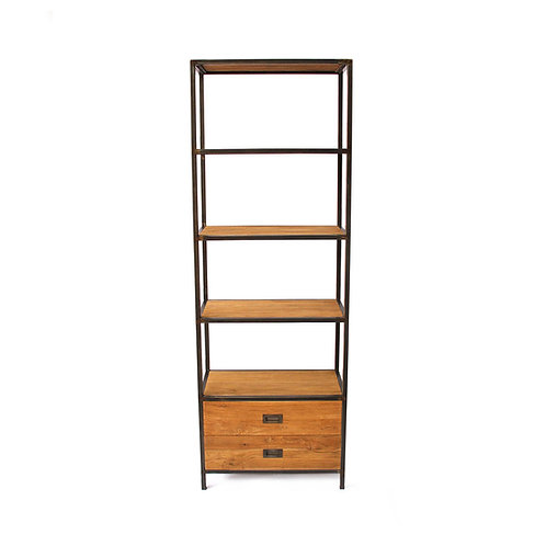 Tall Bookcase - Industrial Chic / Recycled Teak