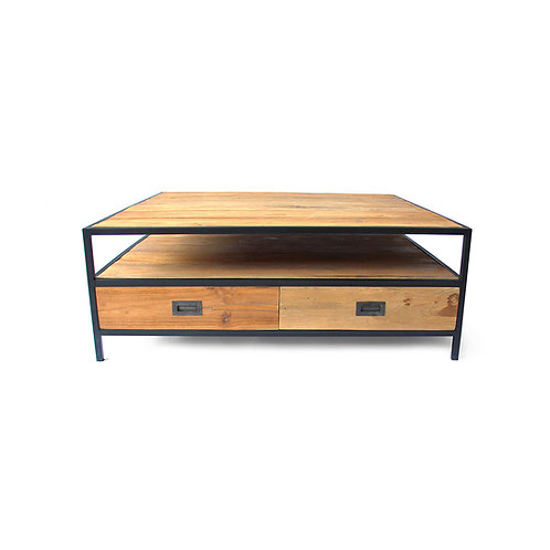 Industrial Chic Square Coffee Table - Recycled Teak / Iron