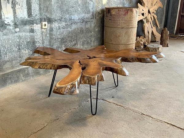 Java teak root and iron coffee table