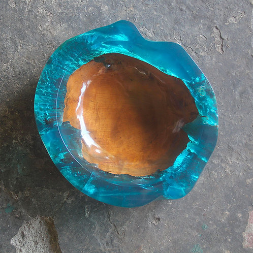 Blue Crystal Clear Resin / Live Edge Teak - Bowl