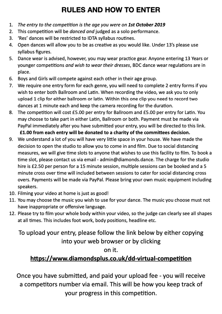 DD Virtual Competition Rules