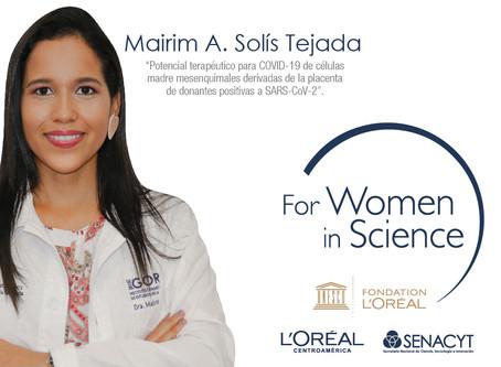 """La Dra. Mairím Solís gana el premio en Panamá L´Oréal- UNESCO """"Por Mujeres en la Ciencia"""""""