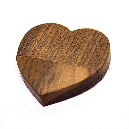 Eco-Pendrive corazon madera Llavero - 16GB - UDT-75