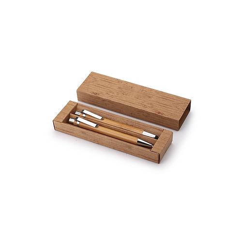 Set de bolígrafo y lápiz mecánico de bambú tinta negra