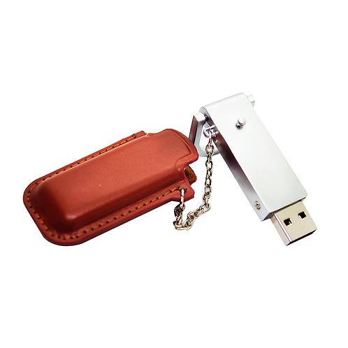 Pendrive llavero metal cuero - 16 GB - UDP-23LL