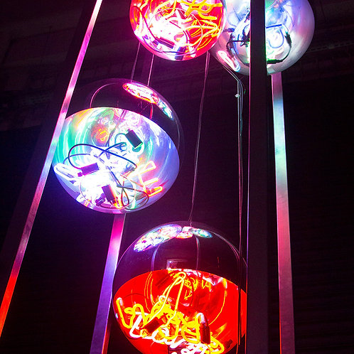 Contemporary Neon Balls Stand Lamp
