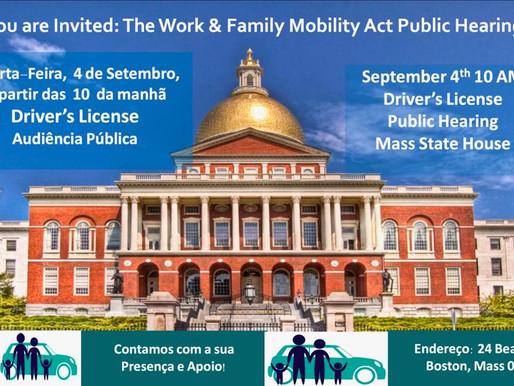 """Audiência Pública """"DRIVER'S LICENSE"""" no State House em apoio aos Imigrantes em Massachusetts!"""