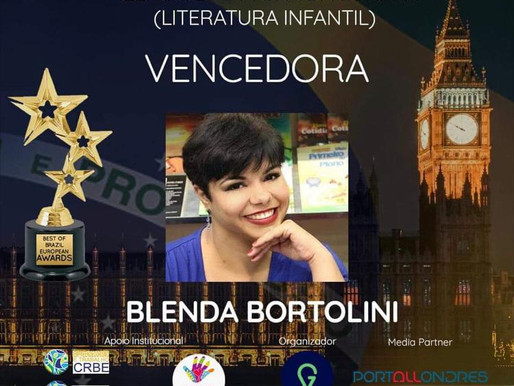 Best of Brazil EUROPEAN AWARDS 2020 tem BLENDA BORTOLINI vencedora da Literatura infantojuvenil