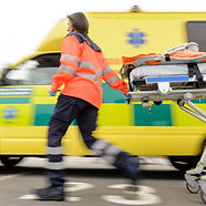 Running blurry paramedic woman rolling s