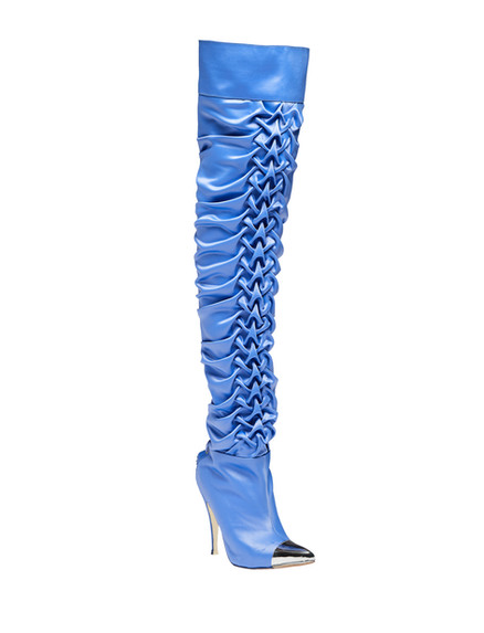 Periwinkle ruched thigh high