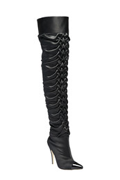 Noir ruched thigh high