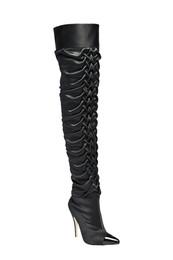 Noir ruched thigh high