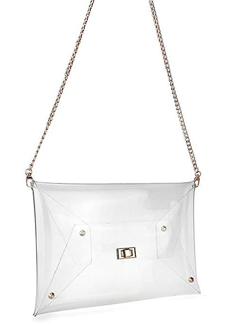 Small Transparent Clear Cross Body Bag with Gold Chain
