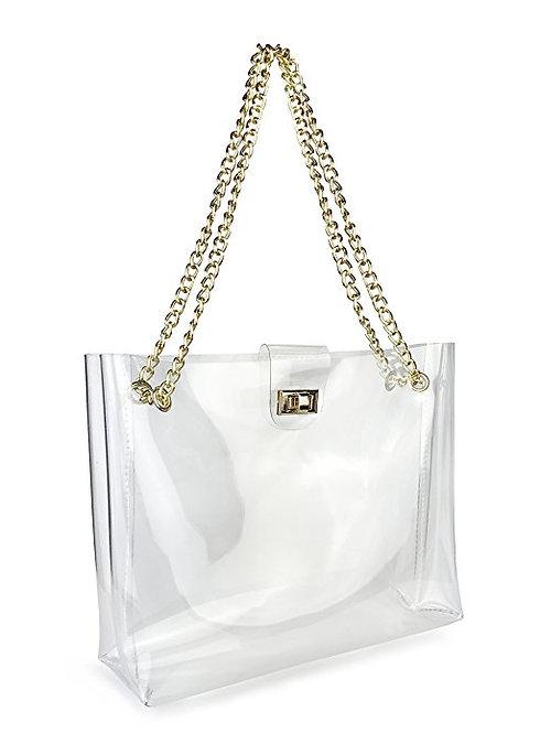 Large Transparent Shoulder Bag with Gold Chain