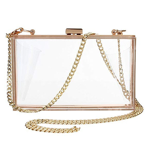 Transparent Rectangle Box Shoulder Cross Body Bags with Gold Chain