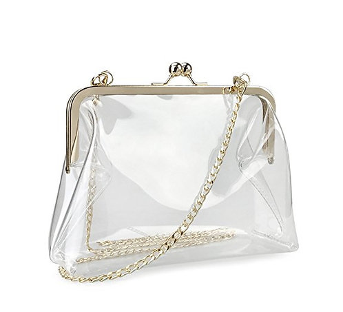 Transparent Kiss Lock Cross Body Bags with Gold Chain