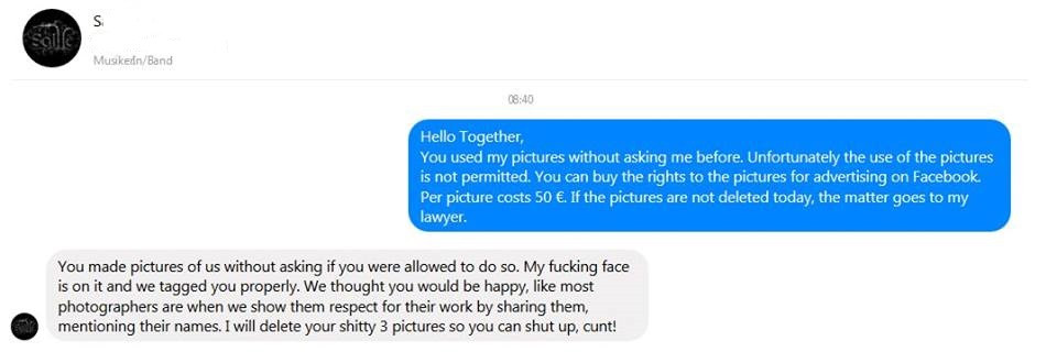 Kommunikation eines bekannten Fotografen mit einer Band, die Fotos von ihm auf ihrer Facebookseite veröffentlichte