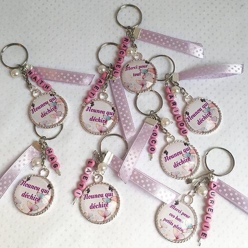 Porte clé message avec perles prenom personnalisé