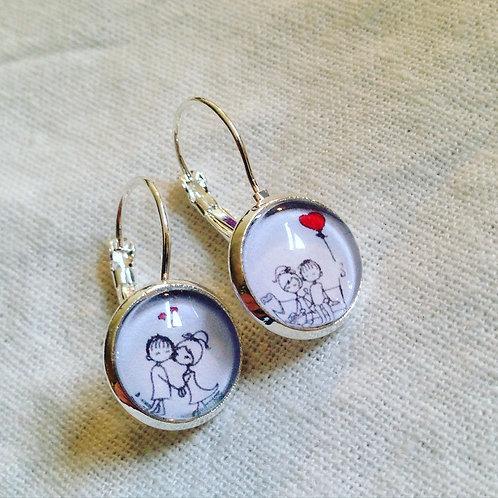 Boucles d'oreilles argentées lovers