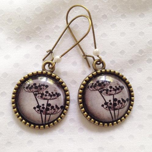 Boucles d'oreilles bronze pendantes Pissenlit noir