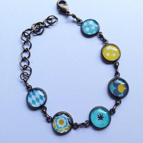 Bracelet 6 mini cabochons bronze ou argenté