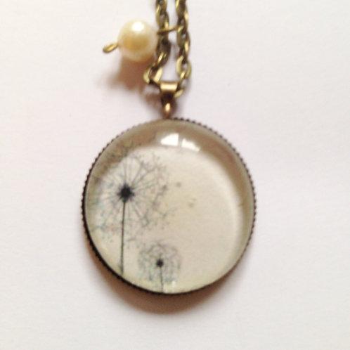 Collier pendentif sur Chaîne ras de cou Pissenlit