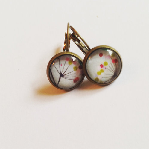 Boucles d'oreilles bronze pissenlit colorée