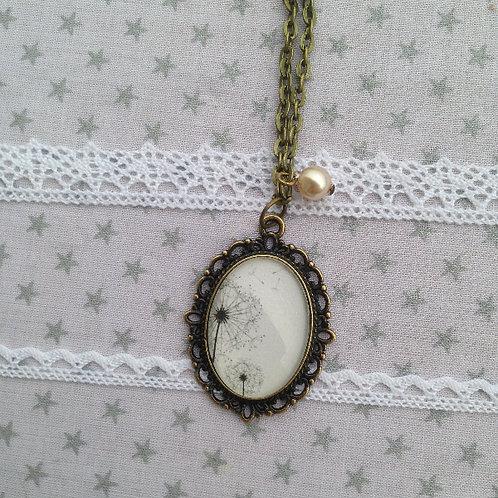 Collier pendentif Pissenlit ovale