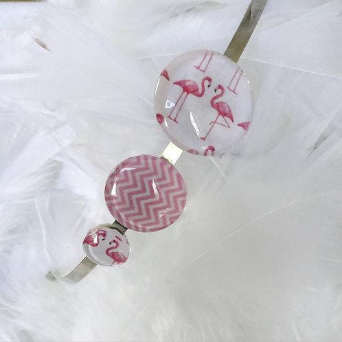 Serre-tête 3 cabochons flamant rose