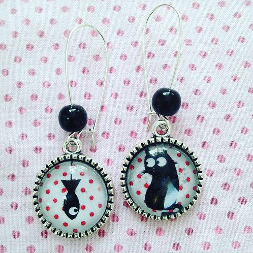 Boucles d'oreilles argentées pendantes cat & fish