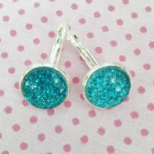 Boucles d'oreilles argentées paillettes turquoises