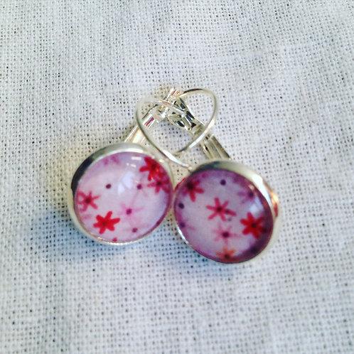 Boucles d'oreilles argentées fleurs