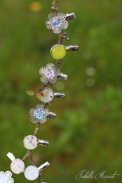 Barrette croco fleur motif au choix