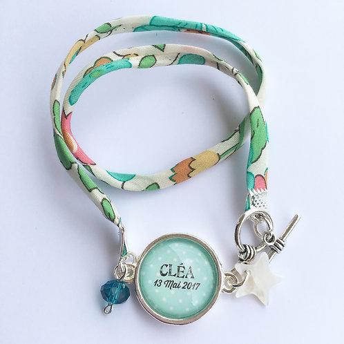 Bracelet double personnalisé avec prénom ruban au choix