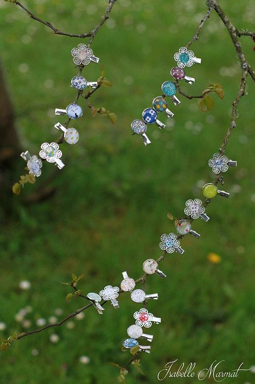Barrette croco fleur motif au choix (lot de 3)