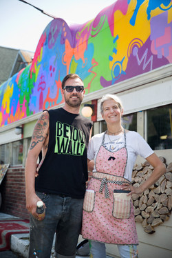Awning art by JPO, Get Juiced Owner Stefanie Jasper, Photo by Al Thompson
