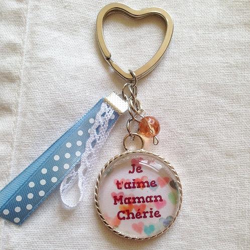 """Porte-clé """"Je t'aime Maman"""" attache coeur"""