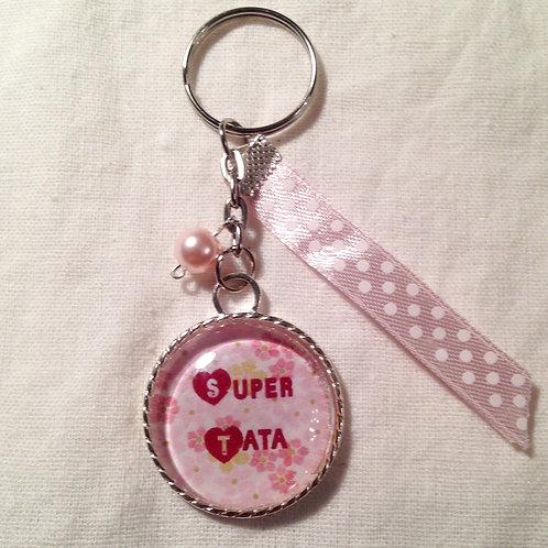 "Porte clé message ""Super Tata"""