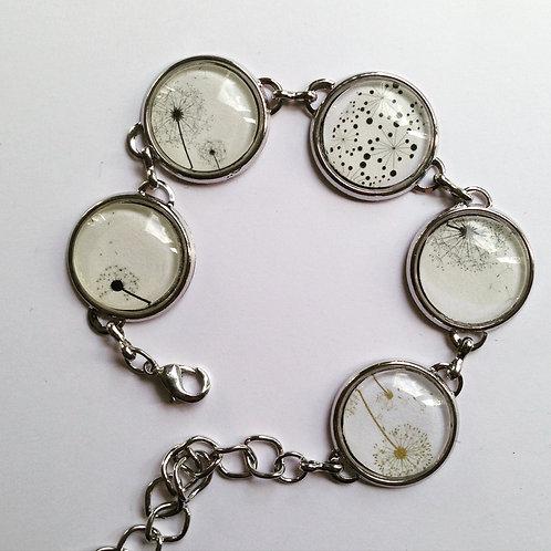 Bracelet argenté ou bronze Pissenlit