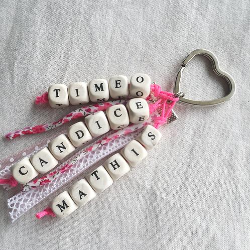 Porte clé à personnaliser Lettres bois 3 mots
