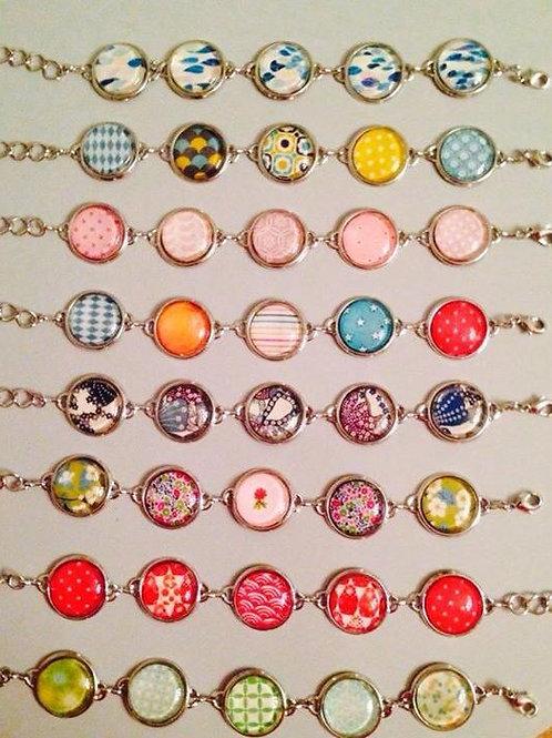 Bracelet 5 cabochons argenté ou bronze motif au choix