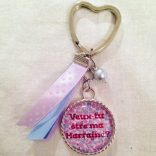 """Porte-clé """"Tu veux être ma Marraine"""" attache coeur"""