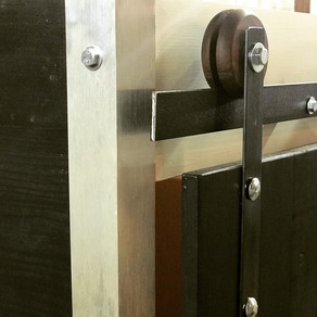 Barn doors with wooden wheels