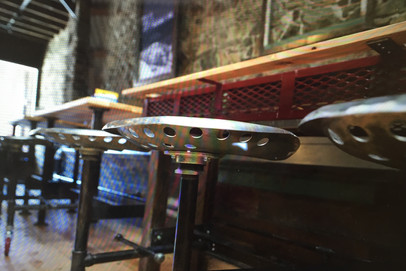Pete's Pizza Tractor Seating, Wood Tables