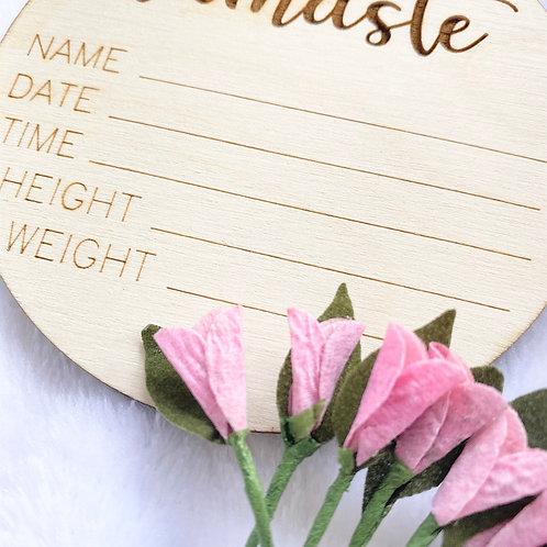Namaste Birth Announcement Wooden Disc