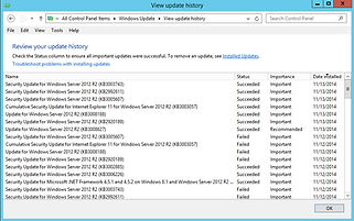 Windows Server Update history